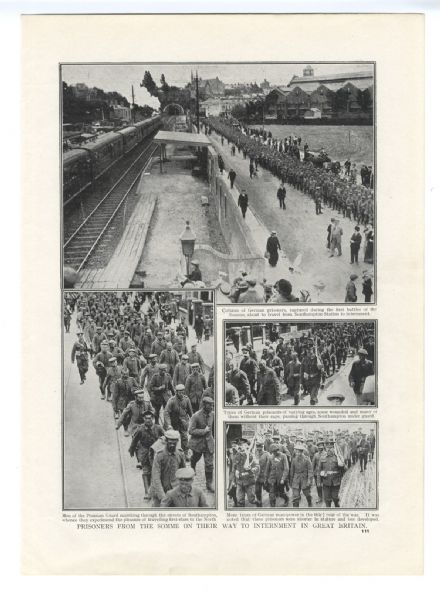 1916 WW1 Print SOUTHAMPTON Streets & RAILWAY STATION German POW's Marching (111)